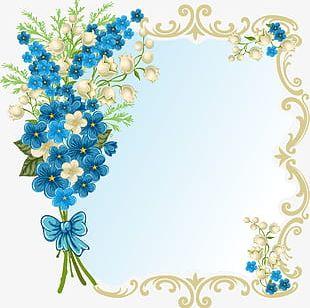 Blue Flower Frame PNG