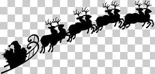 Reindeer Santa Claus Silhouette Sled PNG