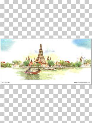 Wat Arun Temple Thai Art Watercolor Painting PNG