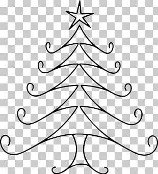 Drawing Christmas Tree Line Art PNG