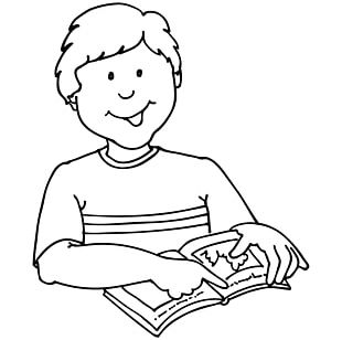 Student Reading Black And White PNG