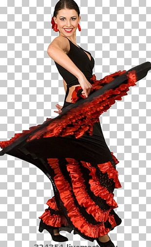 Flamenco Ballet Dancer Costume PNG