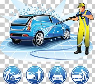 Car Wash Cartoon Illustration PNG