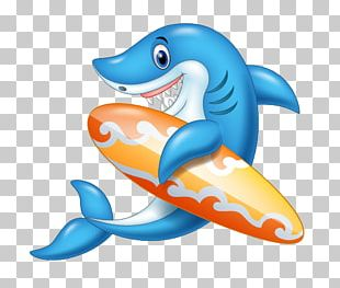 Shark Cartoon Surfboard Illustration PNG