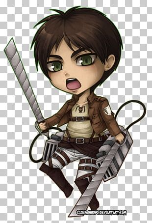 Eren Yeager Mikasa Ackerman Attack On Titan Chibi Drawing PNG