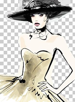 Fashion Model Hat Drawing PNG