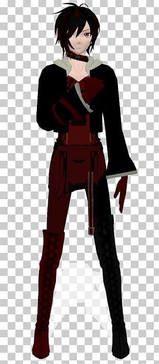 Black Hair Outerwear Cartoon Character PNG
