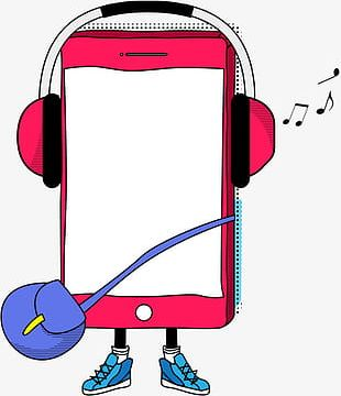 Headset With Mobile Phone PNG