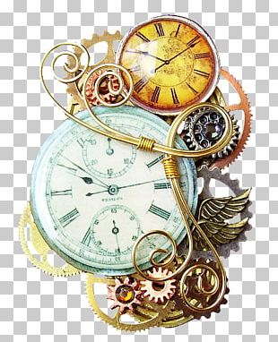 Steampunk Fashion Pin Jewellery Pocket Watch PNG