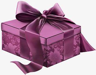 Purple Ribbon Gift Box PNG