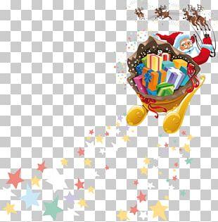 Rudolph Santa Claus Reindeer Christmas Sled PNG