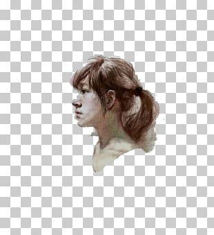 Woman Chalk Portrait PNG