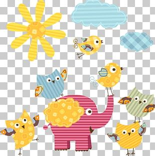 Cartoon Sun And Elephants PNG