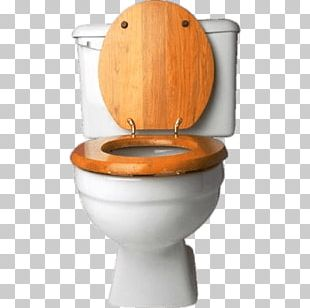 Toilet With Wooden Seat PNG