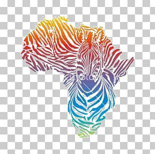 Africa Giraffe Zebra Illustration PNG