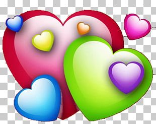 Rainbow Color Heart Red PNG