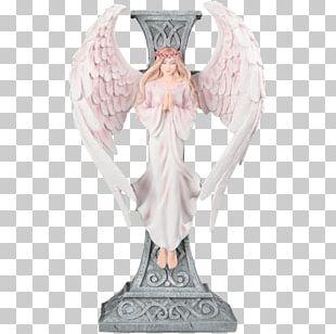 Statue Figurine Angel M Christian Cross P!nk PNG