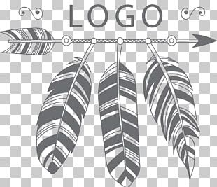 Black Hand Painted Arrows And Feathers LOGO PNG