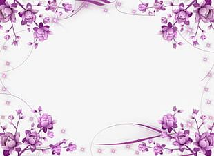 Symmetrical Purple Flowers Border PNG