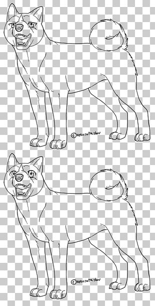 Akita Whiskers Dog Breed Cat Line Art PNG