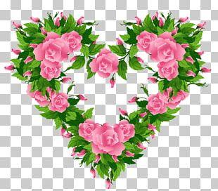 Heart Rose Flower Pink PNG