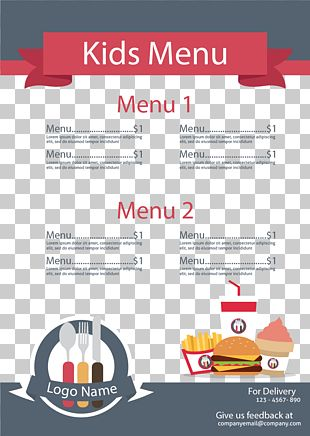 Menu Kids Meal Restaurant Outline Of Meals Food PNG