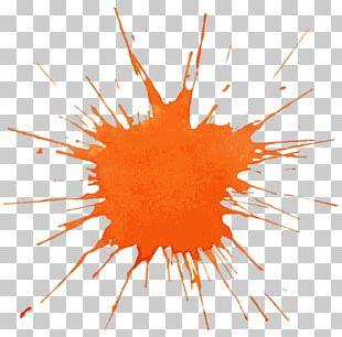 Watercolor Painting Splash Orange PNG