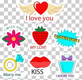 Cartoon Love Stickers PNG