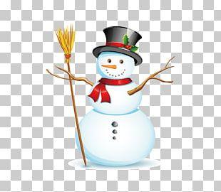 Snowman Christmas Broom Illustration PNG
