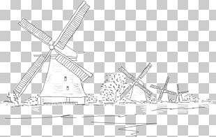 Netherlands Windmill Drawing Line Art PNG