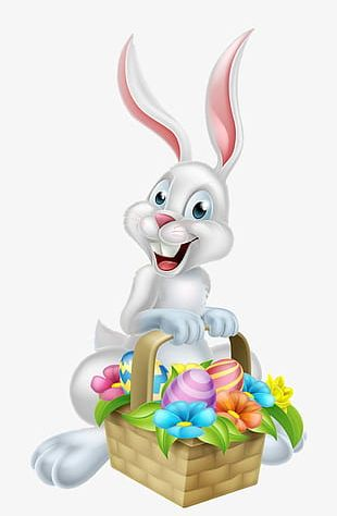 Decorative Patterns Bunny Carrying Easter Eggs PNG