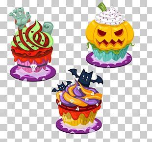 Cupcake Fruitcake Halloween Cartoon PNG