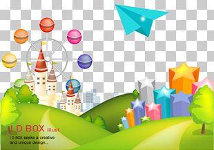 Amusement Park Cartoon Poster PNG