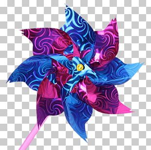 Blue And Pink Flower Windmill PNG