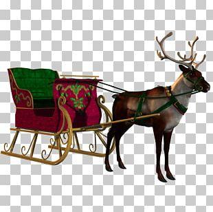 Santa Claus Village Reindeer Sled Christmas PNG