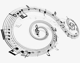 Music Notes Floating Material PNG