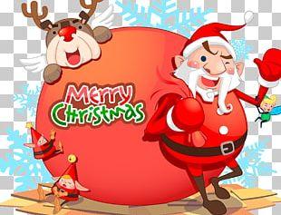 Rudolph Santa Claus Reindeer Christmas Ornament Illustration PNG