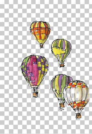 Hot Air Balloon Festival Greeting Card Sketch PNG