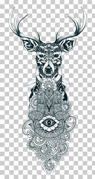 Reindeer Tattoo Drawing Gray Wolf PNG