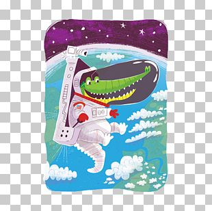 Crocodile Alligator Astronaut Outer Space Illustration PNG