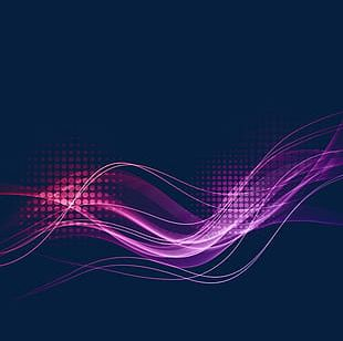 Purple Wave Lines Light Effect PNG