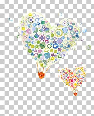Cartoon Balloon Heart Illustration PNG