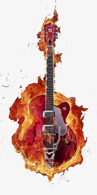 Fire Effect Guitar PNG