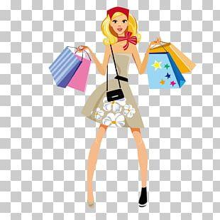 Shopping Fashion Girl Illustration PNG