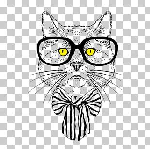 Cat Hipster Art Drawing PNG