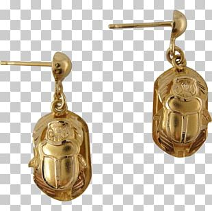 Earring Gold Scarab Jewellery Icon Style PNG