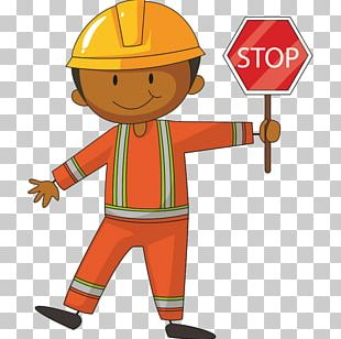 Construction Worker Stop Sign PNG