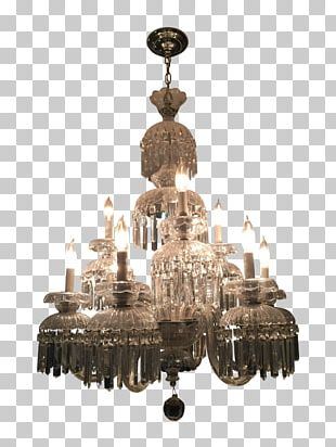 Chandelier Ceiling Brass Light Fixture Crystal PNG