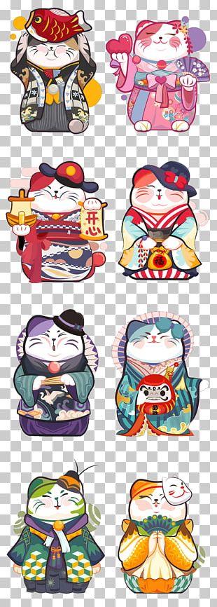 Cat Maneki-neko Cartoon Illustration PNG