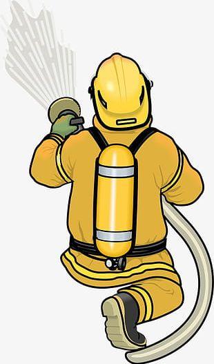 Hand-painted Cartoon Fireman PNG